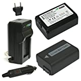 Wasabi Power Battery (2-Pack) and Charger for Sony NP-FW50 and Sony Alpha 7, a7, Alpha 7 II, a7 II, Alpha 7R, a7R, Alpha 7S, a7S, Alpha a3000, Alpha a5000, Alpha a5100, Alpha a6000, ILCE-QX1, NEX-3, NEX-3N, NEX-5, NEX-5N, NEX-5R, NEX-5T, NEX-6, NEX-7, NEX-C3, NEX-F3, SLT-A33, SLT-A35, SLT-A37, SLT-A55V, Cyber-shot DSC-RX10