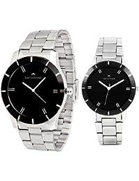 Swisstone GR002-BLK-CH & LR002-BLK-CH Analog Wrist Watch Combo For Men & Women