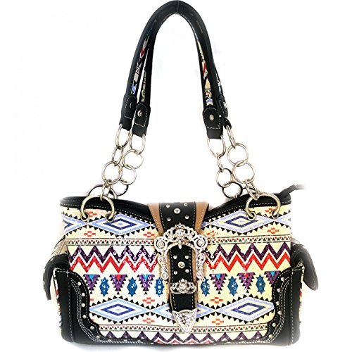 2015 New Style Rhinestone Buckle Concho Concealed Carry Embroidered Leather Shoulder Handbag Purse and Matching Messenger Bag, Wallet in Black Grey (CC Black Handbag)