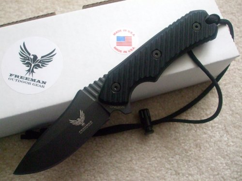 Freeman Outdoor Gear Compact 451 Fixed Blade Knife Black Blade Black Handle