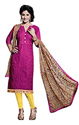 Ethnic For You Chanderi Unstitched Salwar Suit Dress Materials(Rani)