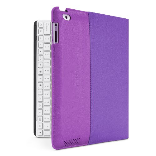 Belkin Yourtype Folio Case With Keyboard For The Apple Ipad With Retina Display (4Th Generation) & Ipad 3 And Ipad 2 - White Keyboard (Purple Cover)