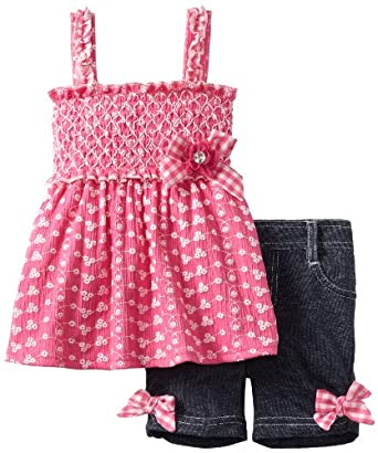 Little Lass Baby-Girls Infant 2 Piece Eyelet Bermuda Short Set, Fuchsia, 12 Months