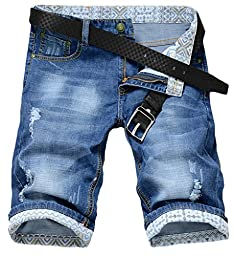 Rlouw Mens Regular Fit Straight Jean Shorts Blue