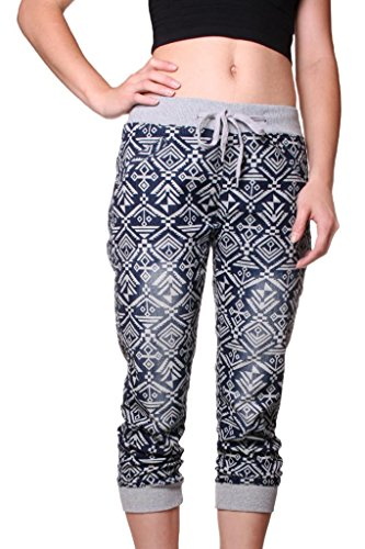 Exocet Womens Denim Aztec Print Cropped Jogger 1X Blue