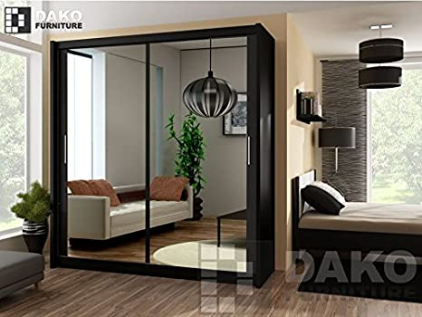 Modern Bedroom Mirror Sliding Door Wardrobe PARIS Black - 4.9ft /150cm Width