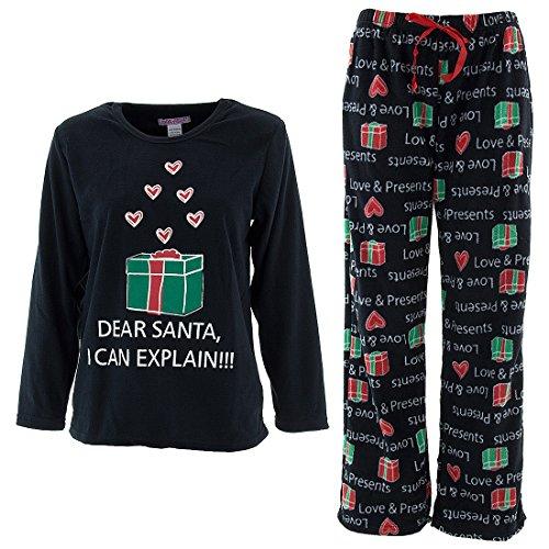 Emme Jordan Love and Presents Womens' Black Fleece Pajamas L