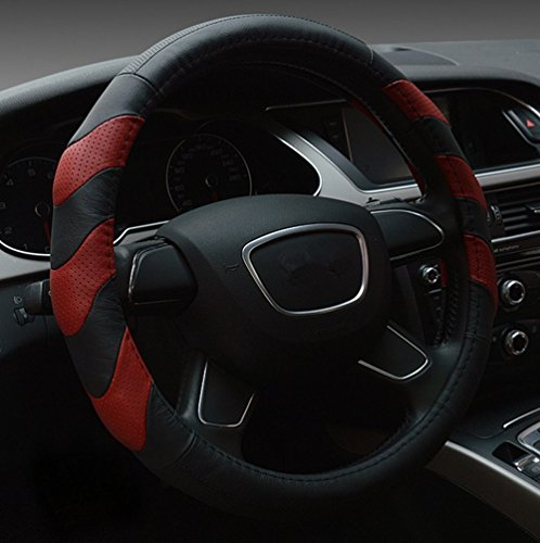 Dee-Type 38 cm Leather Steering Wheel Cover -  Red (Leather Red Steering Wheel Cover compare prices)