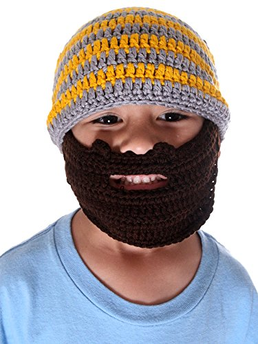 Simplicity Kid's Bearded Beanie Hats, Striped Face Mask for the Winter, Acrylic