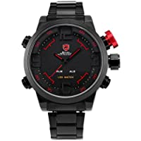 SHARK Mens LED Date Day Black Sport Military Stainless Steel Alarm Quartz Wrist Watch SH105 by SHARK