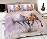 HORSES DUVET COVER - Grey Cream Beige & Brown Bedding Cotton Rich Bed Set Cream, Brown & Grey Double Duvet Cover