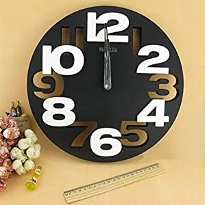 3D Big Digit Modern Contemporary Home Decor Round Wall Clock from HSS