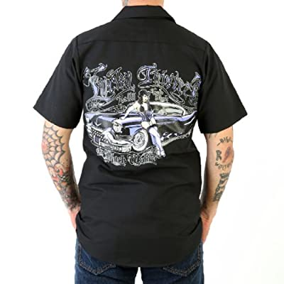 '57 Cadillac and Babe Hot Rod Car Work Shirt by Lucky 13, Lucinda