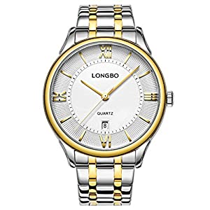 LONGBO Casual Men Gold Full Stainless Steel Band Business Watch Roman Numeral Date Calendar Popular Dress Wristwatch Elegant Couple Quartz Watches