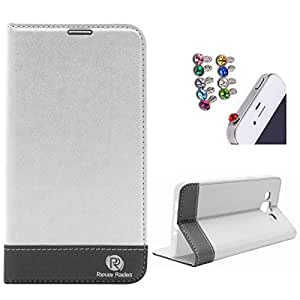 DMG Samsung Galaxy Grand 2 Flip Cover, DMG PRaiders Premium Magnetic Wallet Stand Cover Case for Samsung Galaxy Grand 2 (White) + 3.5mm Jewel Dust Jack