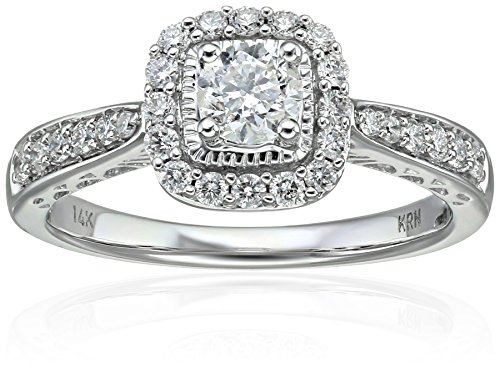 Round Diamond Engagement 14k White Gold Engagement Ring (3/4cttw, H-I Color, I1-I2 Clarity), Size 7