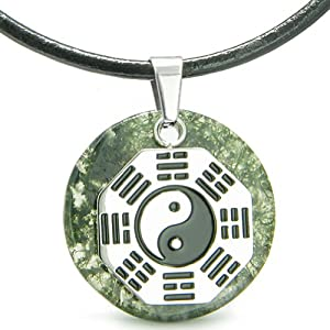 Yin Yang BA GUA Eight Trigrams Amulet Green Moss Agate Magic Gemstone Stainless Steel Circle Spiritual Powers Pendant Leather Necklace