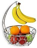 SimpleHouseware Fruit Basket Bowl with Banana Tree Hanger, Chrome Finish