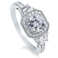 BERRICLE Sterling Silver Round Cubic Zirconia CZ Promise Engagement Wedding Ring Band 2.1 ct.tw Size 6 from BERRICLE