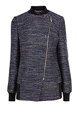 Denim Effect Tweed Coat