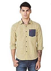 4Stripes Men Casual Check Shirt (4SSH015_XL_YELLOW)