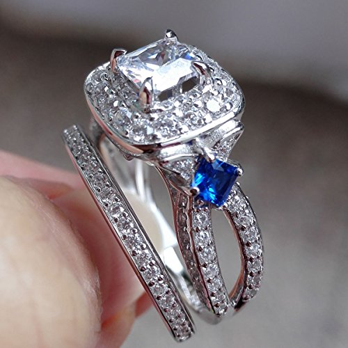 Newshe 2ct Princess AAA Blue Cz 925 Sterling Silver Engagement Wedding Ring Set Size 6