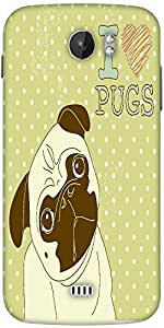Snoogg I Love Pugs Cute Little Pug On Polka Dot Background Designer Protective Back Case Cover For Micromax A110
