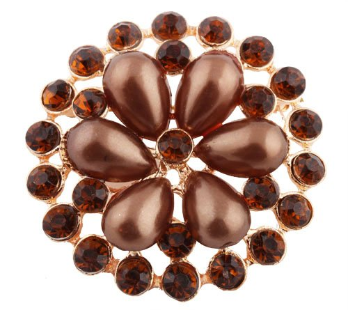 Ladies Gold with Metallic Brown Iced Out Sun Wheel Pearl Flower Style Collar Brooch & Pin