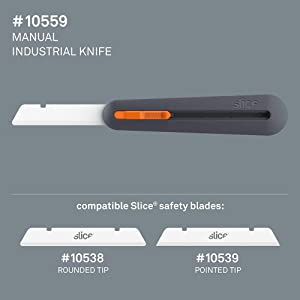 Slice 10559 3 Extra Long Industrial Knife, Designed for Insulation & Foam Cutting, Finger Friendly Ceramic Blade Adjusts to 4 Positions. Lasts 11x Longer vs Steel (Color: Manual, Tamaño: 1 Pack)