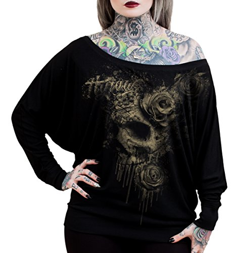 Hyraw Death Bat-Pipistrello, donna Winged comoda vestibilità Loose Top