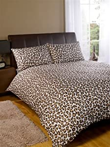 parure housse de couette leopard marron chambre adulte 200. Black Bedroom Furniture Sets. Home Design Ideas