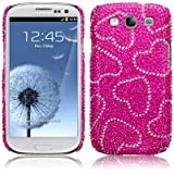 Samsung Galaxy S3 i9300 Hearts Diamante Case / Cover / Shell / Shield PART OF THE QUBITS ACCESSORIES RANGEby Qubits