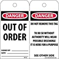 """NMC RPT25 """"DANGER - OUT OF ORDER"""" Accident Prevention Tag, Unrippable Vinyl, 3"""" Length, 6"""" Height, Orange, Black/Red on White (Pack of 25)"""
