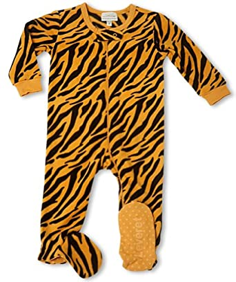 0b0a714b3 Leveret (F) Footed Black   Gold Tiger Print Fleece Pajama Sleeper ...