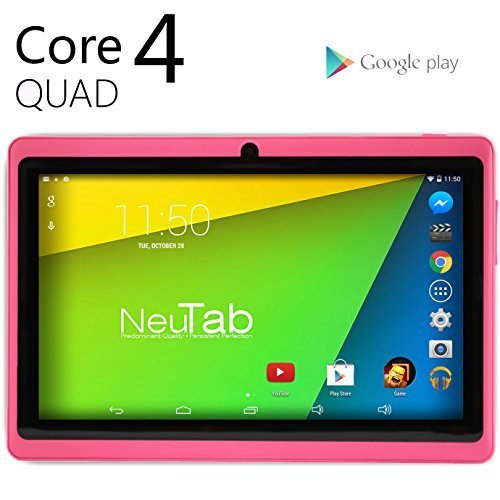 NeuTab® N7 Pro 7' Quad Core Google Android 4.4 KitKat Tablet PC, 1024X600 Display, Bluetooth, HD Dual Camera, Google Play Pre-loaded, 3D-Game Supported (Pink)