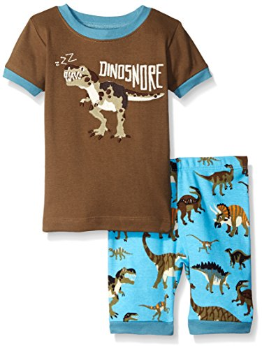 Hatley Big Boys Wild Dinos Short Pajama Set, Brown, 8