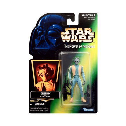 Star Wars The Power of the Force Green Carded with Hologram Sticker - Greedo