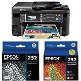 Epson WorkForce WF-3620 WiFi Direct All-in-One Color Inkjet Printer, Copier, Scanner (C11CD19201) and Ink Bundle