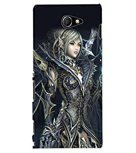 ColourCraft Warrior Girl Design Back Case Cover for SONY XPERIA M2