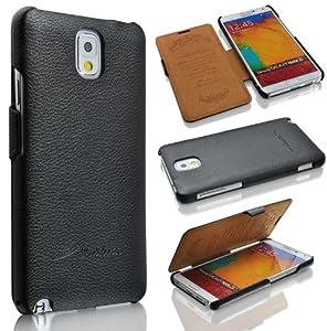 Samsung Galaxy Note 3 N9000/N9002/N9005 (LTE / 4G) Hülle, ***ECHT LEDER - HANDGEFERTIGT*** - Zubehör Case Etui Galaxy Note 3 GT-N9000 N9002 N9005 Flip Case Schutzhülle - Farben Schwarz, Braun, Weiss - (Schwarz)