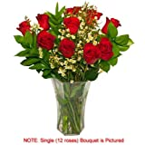 Valentine's Rose Single Bouquet - One Dozen (12) Red Roses - LONG STEM - 21 Inches Tall