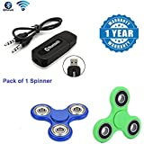 Apple IPad Mini Compatible Certified Bluetooth Stereo Adapter Audio Receiver 3.5Mm Music Wireless Hifi Dongle Transmitter Usb Mp3 Speaker Car With New Fidget Hand Spinner For Fun, Anti-Stress, Focus, ADHD, Anxiety & Autism(1 Year Warranty)