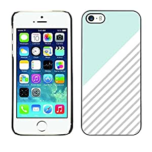 Omega Covers - Snap on Hard Back Case Cover Shell FOR Apple iPhone 5 / 5S - Blue White Grey Lines Pattern