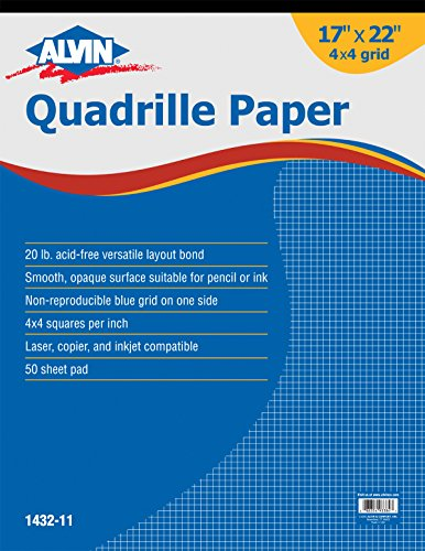 Alvin Quadrille Paper Grid Pad Size 17 X 22 Inches 1432 11 088354933847
