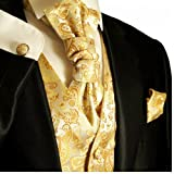 Paul Malone Tuxedo Vest Set . Gold Paisley . Formals and Wedding