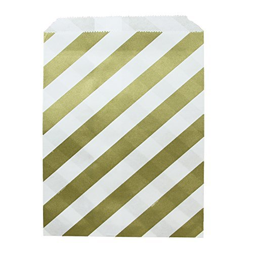 Dress My Cupcake Striped Party Favor Bags (Set of 24), Gold (Popcorn Bag Cupcake compare prices)