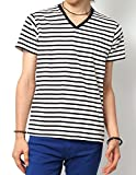 (リピード) REPIDO Tシャツ カットソー メンズ 半袖 Vネック ボーダー ボーダーTシャツ 半袖Tシャツ 無地 白黒 ホワイト×ブラック(太) M