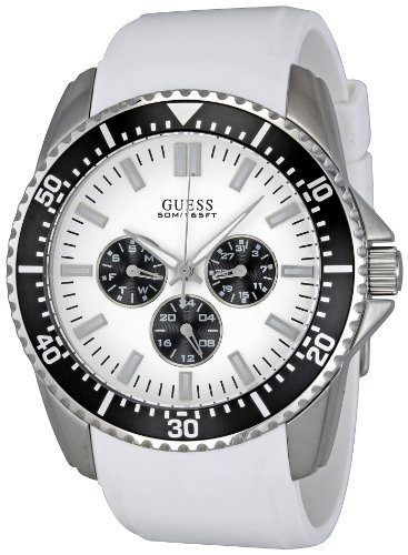 Guess W90070G5 - Reloj analógico de cuarzo para hombre con correa de silicona, color blanco