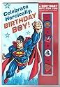 "Happy Birthday Greeting Card Superman ""Celebrate Heroically Birthday Boy!"" with Link'emz"