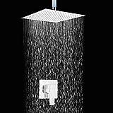 12 Inch Contemporary Square Chrome Finish Slim Design Shower taps